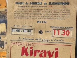 Kiravi disque stationnement